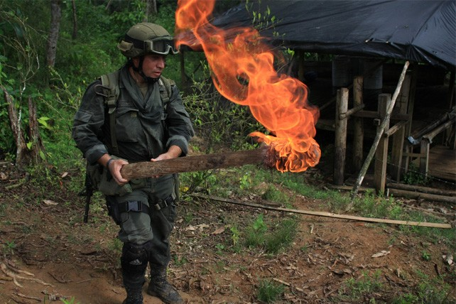 Anti-narcotic police burn a coca laboratory near Tumaco, Colombia
