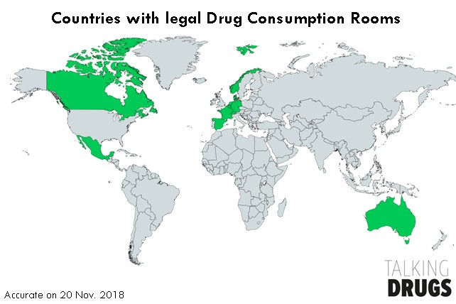 Drug consumption rooms operate legally in the Netherlands, Germany, Denmark, Spain, Norway, France, Luxembourg, Switzerland, Canada, Australia, Belgium, and Mexico