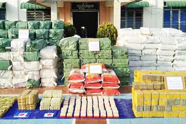 Authorities in Shan State seized 30 million yaba pills and 1.75 tonnes of pure methamphetamine in 2018