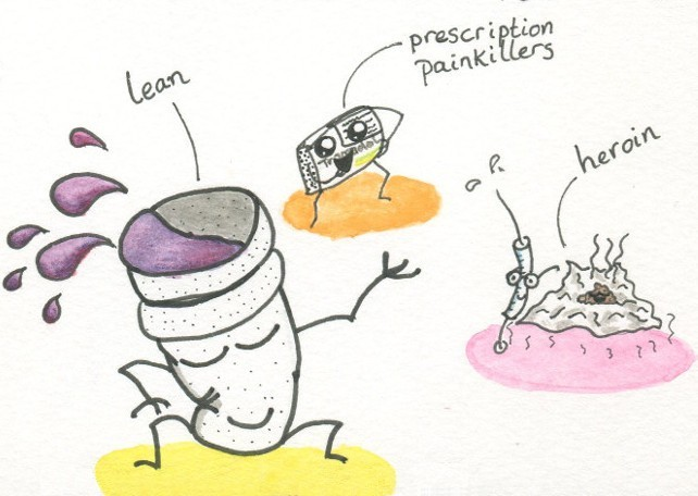 Hand-drawn anthropomorphic opiates in various forms dance and pose.
