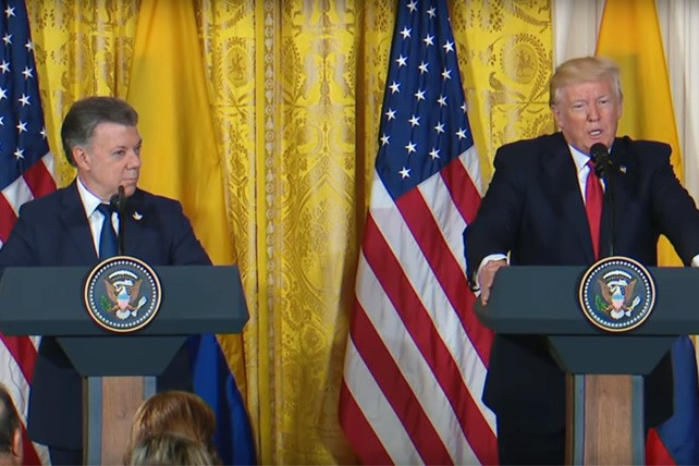 President Trump with Colombian President Juan Manuel Santos