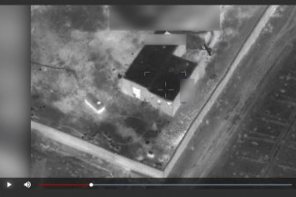 A still from video footage of the U.S. latest aistrikes on Afghan opium labs