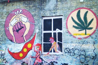 A pro-cannabis mural in the Christiania district of Copenhagen, Denmark's capital