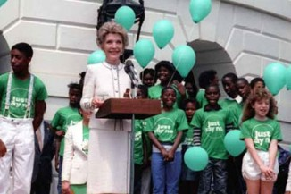 "Nancy Reagan at a ""Just Say No"" rally in 1986"