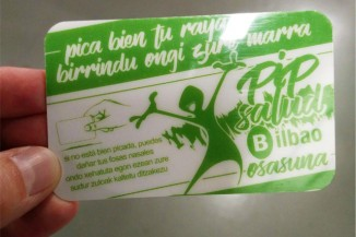 The cocaine-crushing card being distributed in Bilbao, Spain